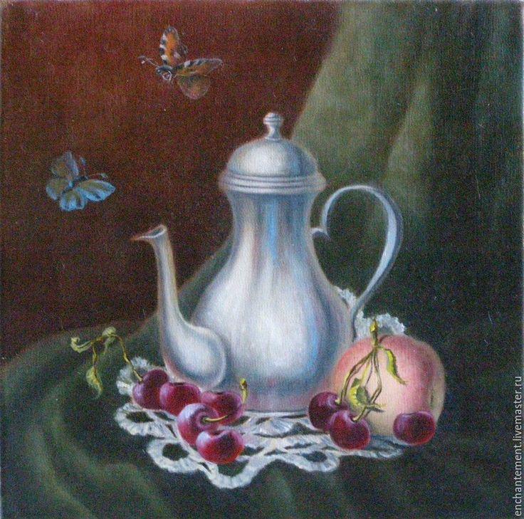 """Купить Натюрморт """"Небольшой кувшин с вишней и персиком"""" - брусничный, живопись маслом, Живопись, холст масло"""