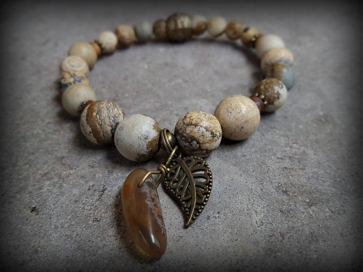 Gemstone, stretch bracelet for women. Jasper, agate with vintage bronze leaf charm. Boho Style Hippie Nature Yoga Jewelry Gift Idea For Her