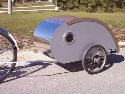 DIY+Teardrop+Trailer | ... Guy's DIY aluminum and wood teardrop bike trailer (Photo: tntt.com