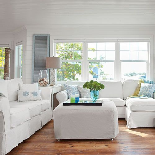 40 living rooms with coastal style beautiful romantic for Romantic living room designs