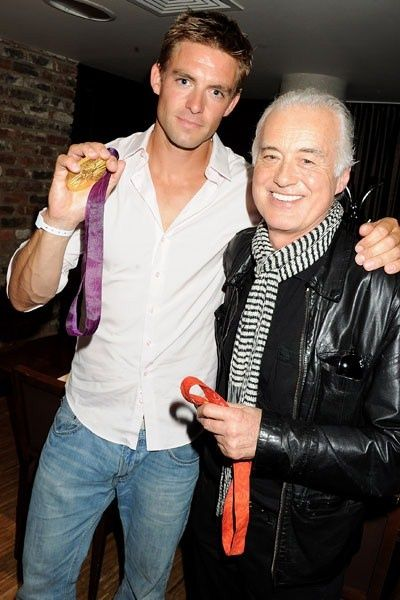 Pete Reed with Jimmy Page.  Secret Stone Roses gig, London.  August, 6, 2012.