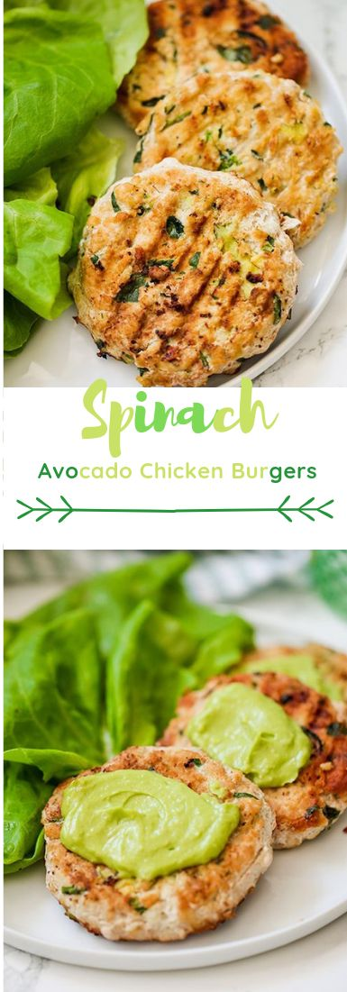 Spinach Avocado Chicken Burgers #chicken #burger