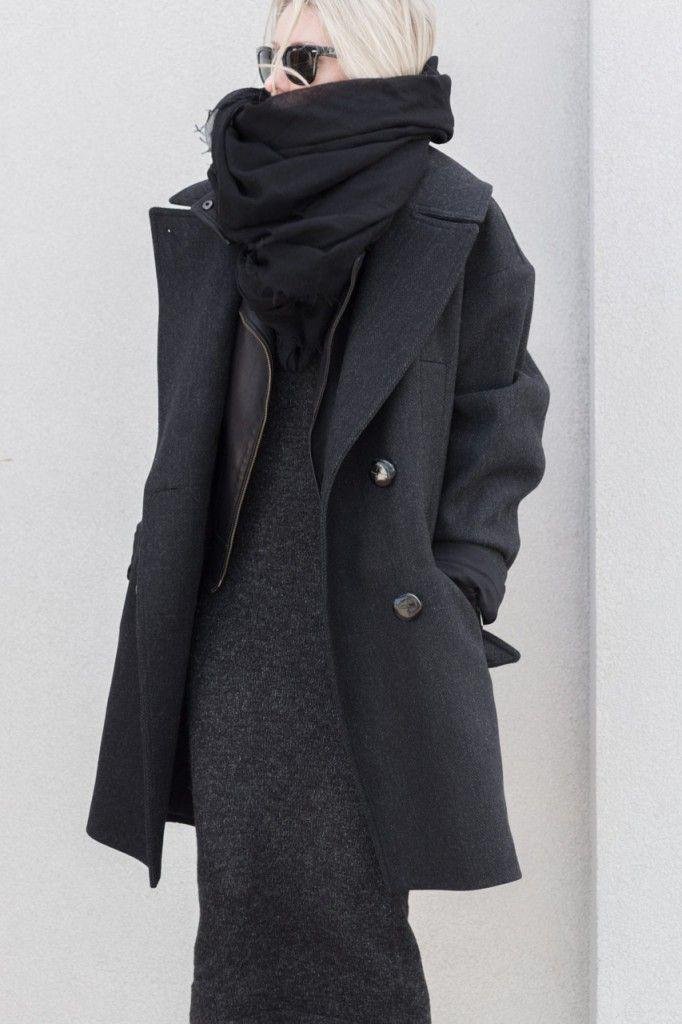 Wearing Isabel Marant H&M Oversized Wool Coat Charcoal (Similar here) | Zara Asymmetrical Knit Dress (Similar here) | MACKAGE KENYA LEATHER JACKET (SIMILAR MACKAGE JACKET HERE) | Adidas Customized Stan Smith Sneakers | Helmut Lang Oversized Cashmere Scarf