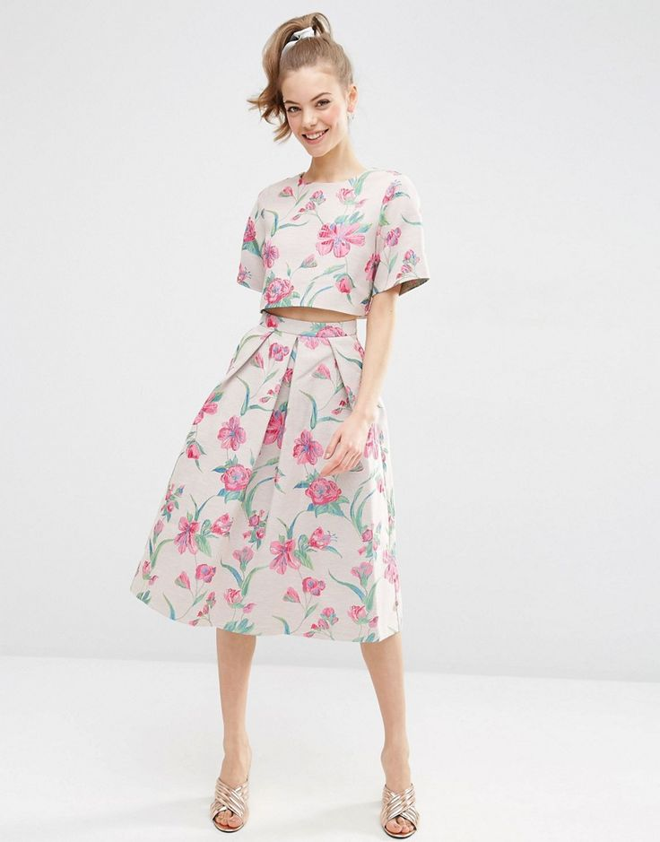 Image 4 ofASOS Floral Jacquard Tee Co Ord