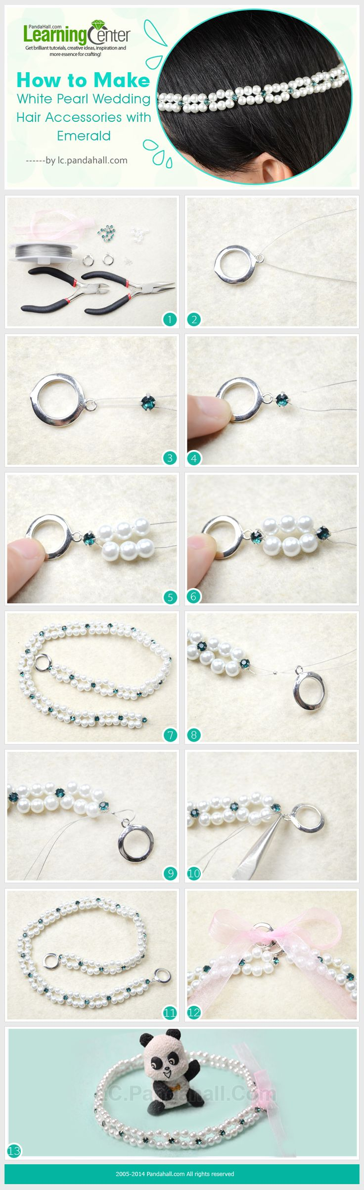 How to Make White Pearl Wedding Hair Accessories with Emerald