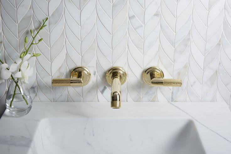 Pinna Paletta Wall-Mount Sink Faucet in Unlacquered Brass