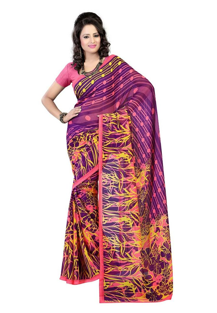Fabdeal Violet Colored Faux Georgette Printed Saree