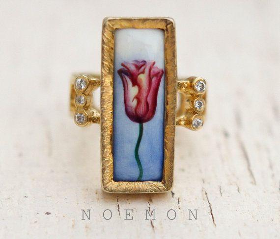 sterling silver ring 925 silver ring 18kt by NoemonDesignStudio