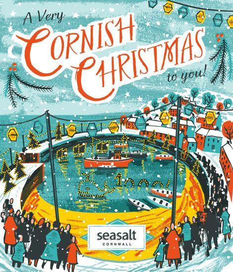 Animated gif illustration of Mousehole Christmas lights. Made for Seasalt Cornwall by Matt Johnson.