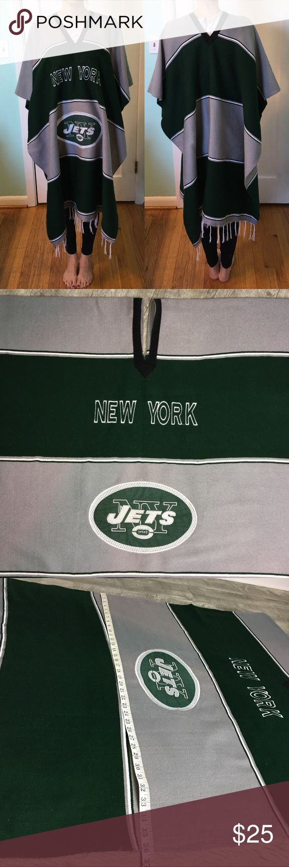 New York Jets Poncho Serape Pullover. New York Jets Poncho Serape Pullover. ***Gray area of poncho on front and back is either faded or stained. It appears that this was hanging on a hanger or dress form near a window. ***  Fading hard to see when draped on the body. Last photo best shows fading. Also, the embroidered white border on the Jets logo has a few loose threads. Please see photos. No tag. Other