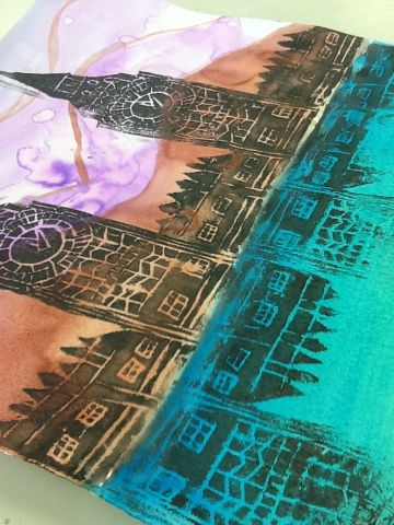 """I like to idea of printing on painted paper and folding to create the reflection.  Must do with my little ones :)  """"Art at Becker Middle School"""""""