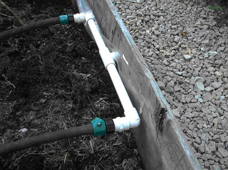 """ Raised bed irrigation with directions. ""The $8.16 Do-It-Yourself Garden Irrigator"" by Bruce Andis"