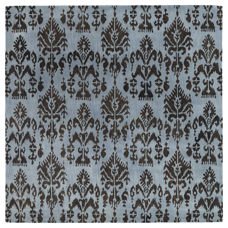Sy Blue Ikat Wool Rug 79 X Square