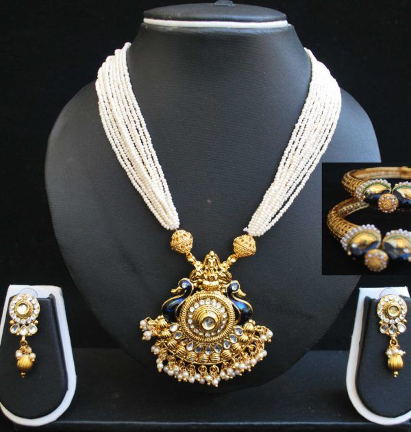 Multilayer Peacock Motif Necklace set and Jadau