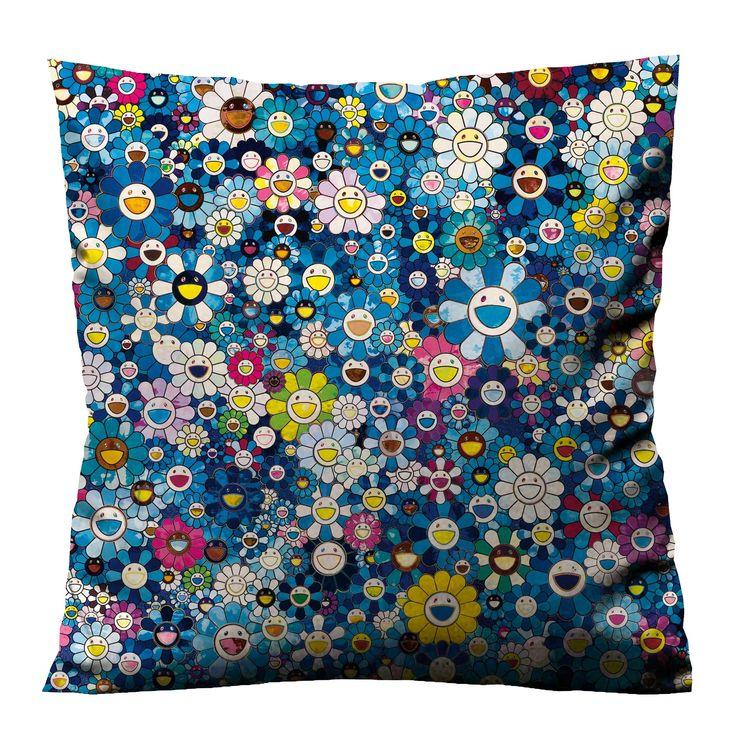 Takashi murakami flower blue cushion case cover dengan