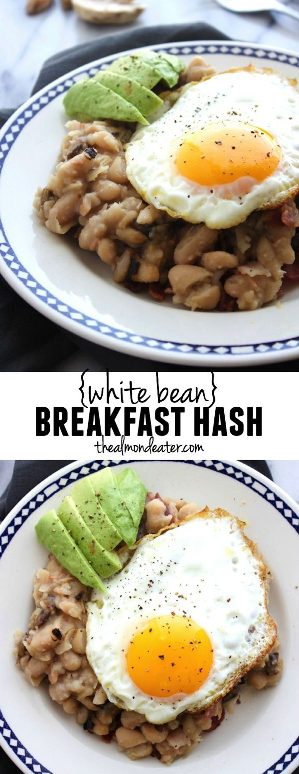 White Bean Breakfast Hash-packed with PROTEIN thanks to beans and the egg, plus bacon+mushrooms- SO GOOD