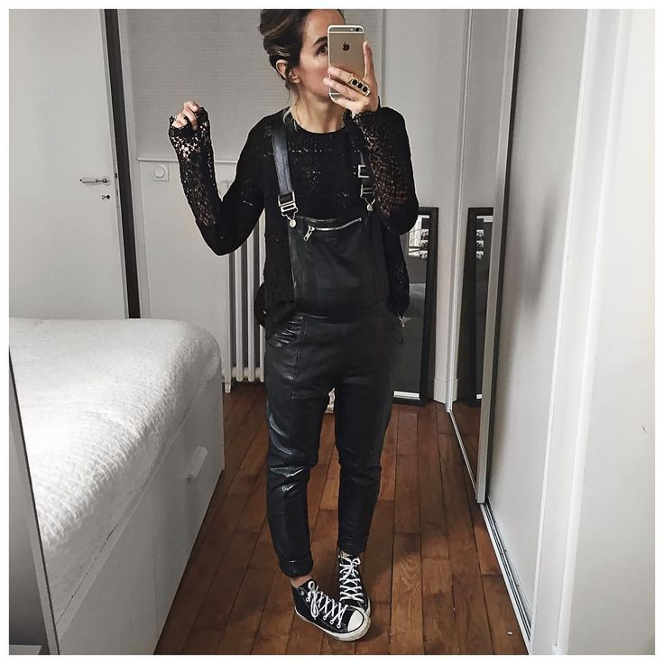 """""""Tout Noir! • Lace Top #bashparis (on @bashparis) • Leather Overall #pelechecoco (on @cyrielleforkure) • Ring #chloe (from @monnierfreres) ..."""""""