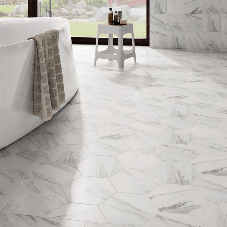 SomerTile 8.625x9.875-inch Marmol Carrara Hex Porcelain Floor and Wall Tile (Case of 25) | Overstock.com Shopping - The Best Deals on Floor Tiles
