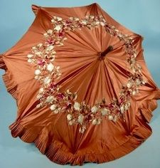 c. 1888 Victorian Copper Brown Silk Embroidered Parasol with Ruffle Edge and Carved Bulldog or Pug Handle