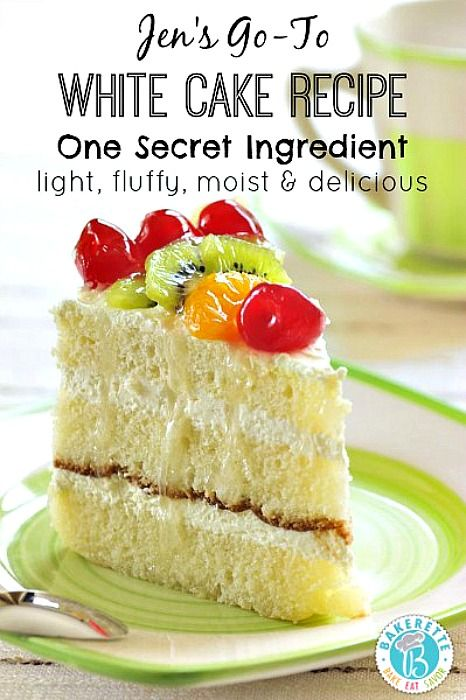 One secret ingredient takes this white cake recipe to a whole new level. Light, moist, fluffy, and delicious! Bakerette.com
