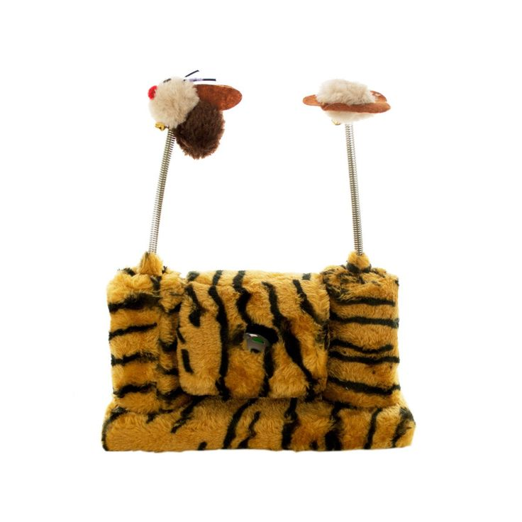Wholesale Faux Tiger Fur Cat Playset with Spring Toys (Case of 1)