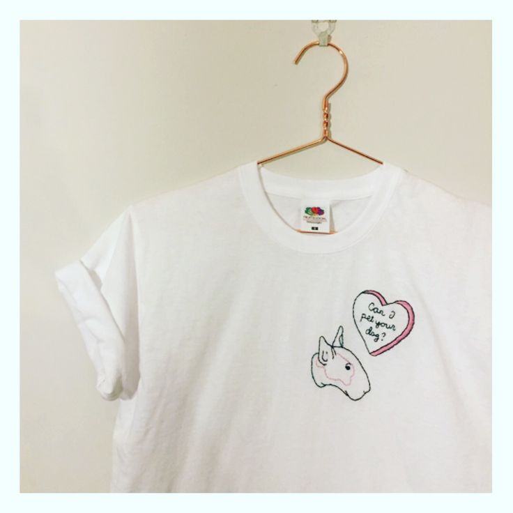 Can I pet your dog? Hand embroidered tee £20