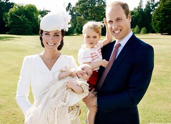 William, Catherine, George and Charlotte at Charlotte's Christening
