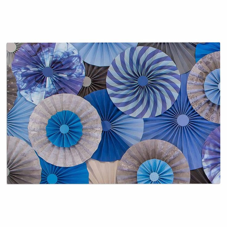 "Heidi Jennings ""Coastline Cottage"" Blue Gray Decorative Door Mat"