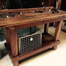 Industrial Wooden Workbench Work Table Bench