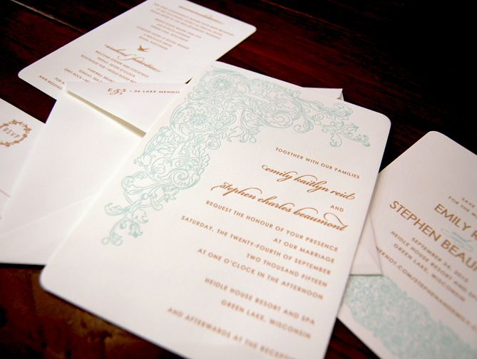 Designers Fine Press   Shown On 100% Recycled Cotton Crane Pearl White  Paper In Mocha · Vintage Wedding InvitationsLetterpress ...