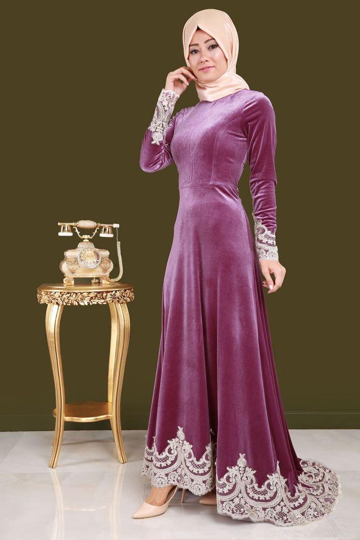 ** SONBAHAR / KIŞ ** Dantel Detay Kuyruklu Kadife Abiye Elbise Gül Kurusu Ürün Kodu: YGS6002 --> 149.90 TL