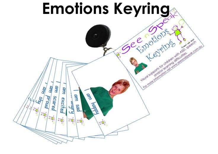 Emotions and Feelings support visuals on a clip-on expandable keyring to help those with Autism, language & learning delay understand their emotions and feelings