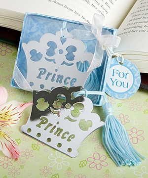 Prince Crown Bookmark Favors royal baby shower
