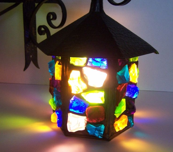 Vintage Stained Chunk Glass Wall Lamp Arts Amp Crafts Peter