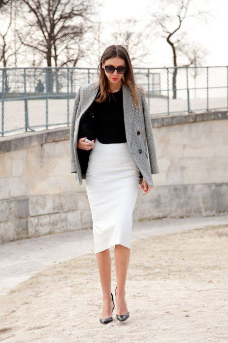 The power of the white skirt (Photos: Best-Dressed Street Style at Paris Fall Fashion Week 2013 | Vanity Fair)