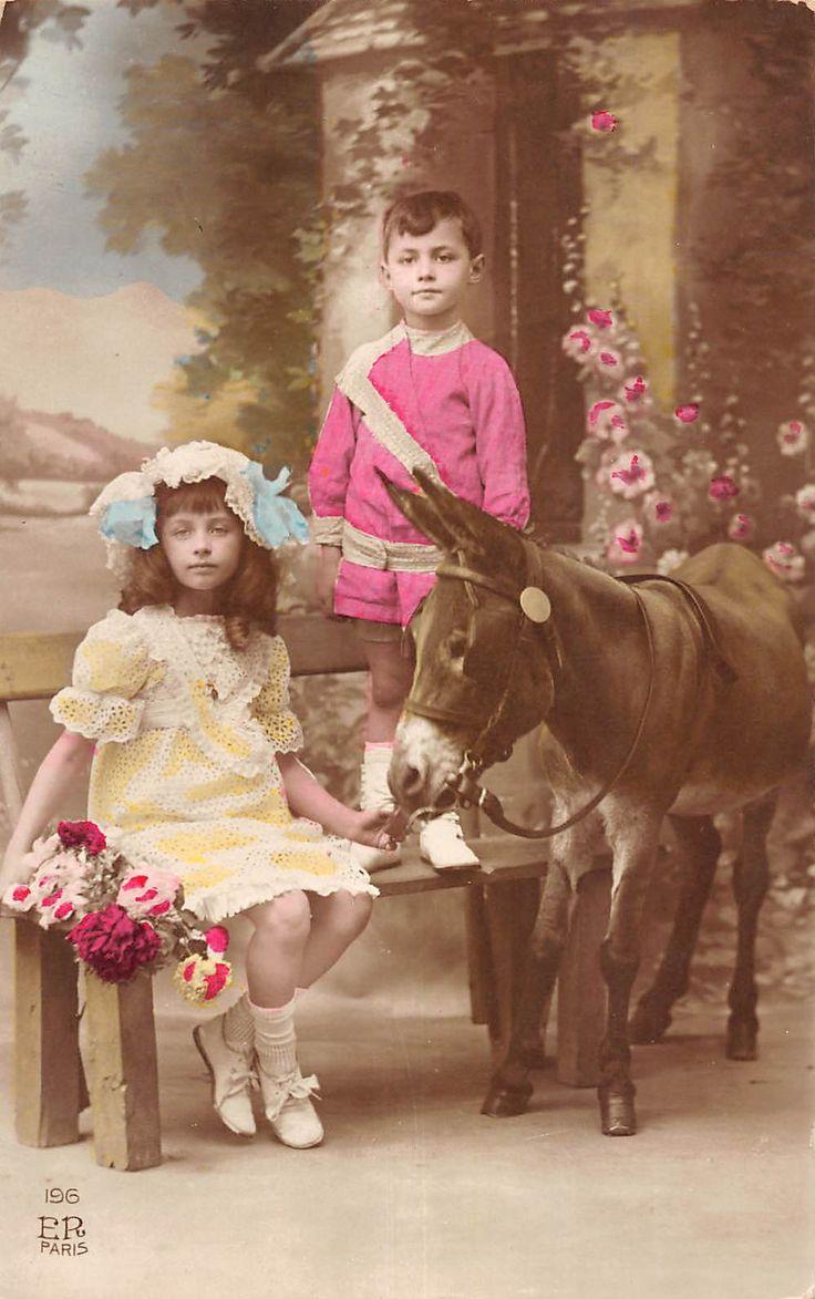мальчик и девочка с ослом тонированный реальное фото открытка v19488   eBay