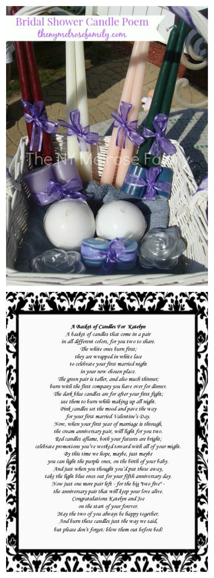 The absolute perfect Bridal Shower Gift!  A candle poem that will make the bride tear up.