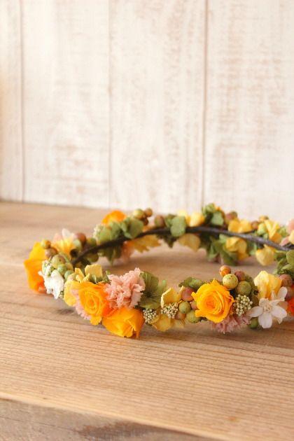 花かんむり ナチュラル 実 秋 オレンジ 黄 ウェディング
