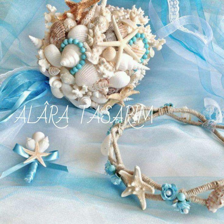 Deniz konsept gelin çiçeği ve tacı set 450 TL iletişim 0553 488 43 33