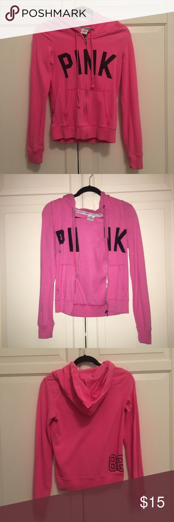 PINK Victoria's Secret pink zip up hoodie!💕 Used PINK hoodie. Slight stain on back of one sleeve. Got too small for me! Still a great sweatshirt super stylish price negotiable --I ship fast 😊 100% authentic PINK Victoria's Secret Tops Sweatshirts & Hoodies