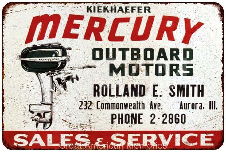 Mercury Motors Sales & Service Vintage Reproduction Metal Sign 8x12 8121728