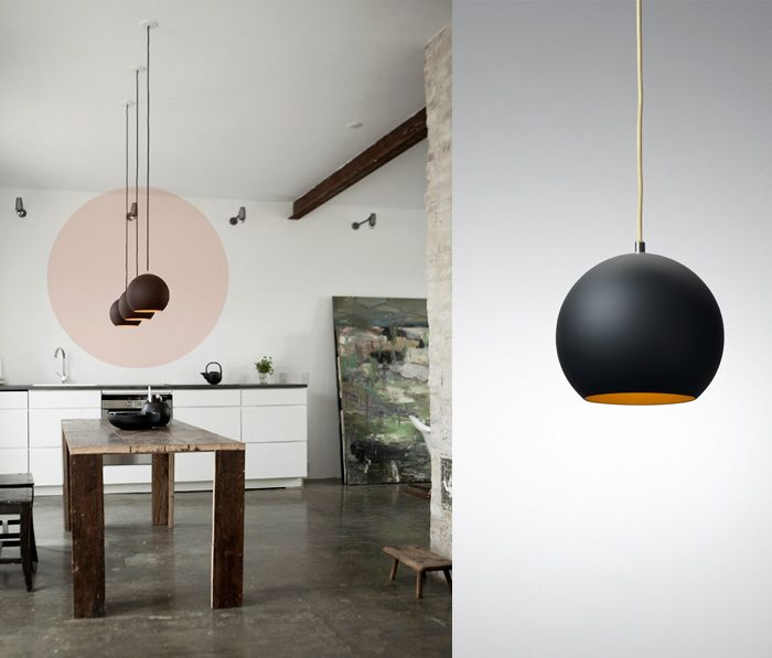 Topan VP6 in black matte with golden inside, designed by Verner Panton: House Ideas, Designed Interiors, Lamp Designed, Circle, Hanging Lamps, Topan Pendants