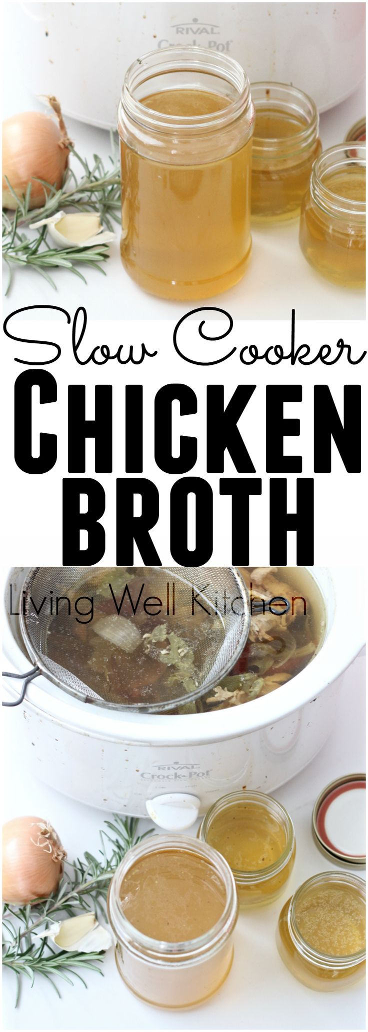 Making homemade chicken broth is easy when you use your slow cooker. Slow Cooker Chicken Broth recipe from Living Well Kitchen @memeinge. #slowcooker #crockpot #CrockPotRecipes #bonebroth #ChickenBroth #easyrecipe