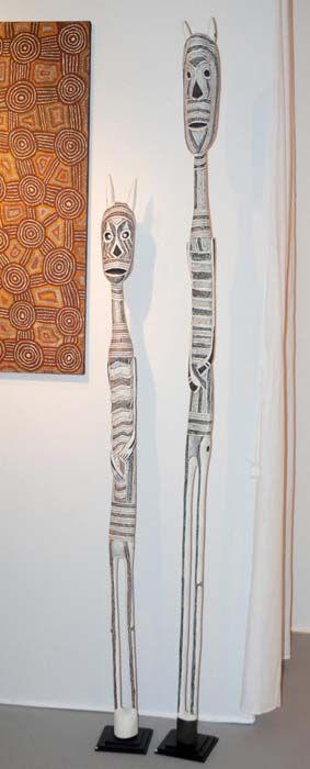 Esprits Mokuy, sculptures aborigènes de Yirrkala à découvrir dans le cadre d'Art Elysées 2014 #aboriginal #aborigene #contemporain