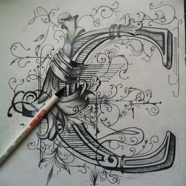 Monogram C for Calligraphi.ca by Giuseppe Salerno, via Behance