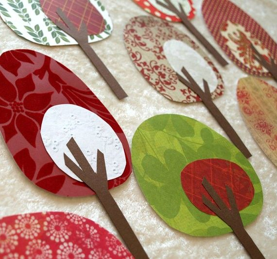pattern paper trees. Two circular shapes. Cut many tree trunks.