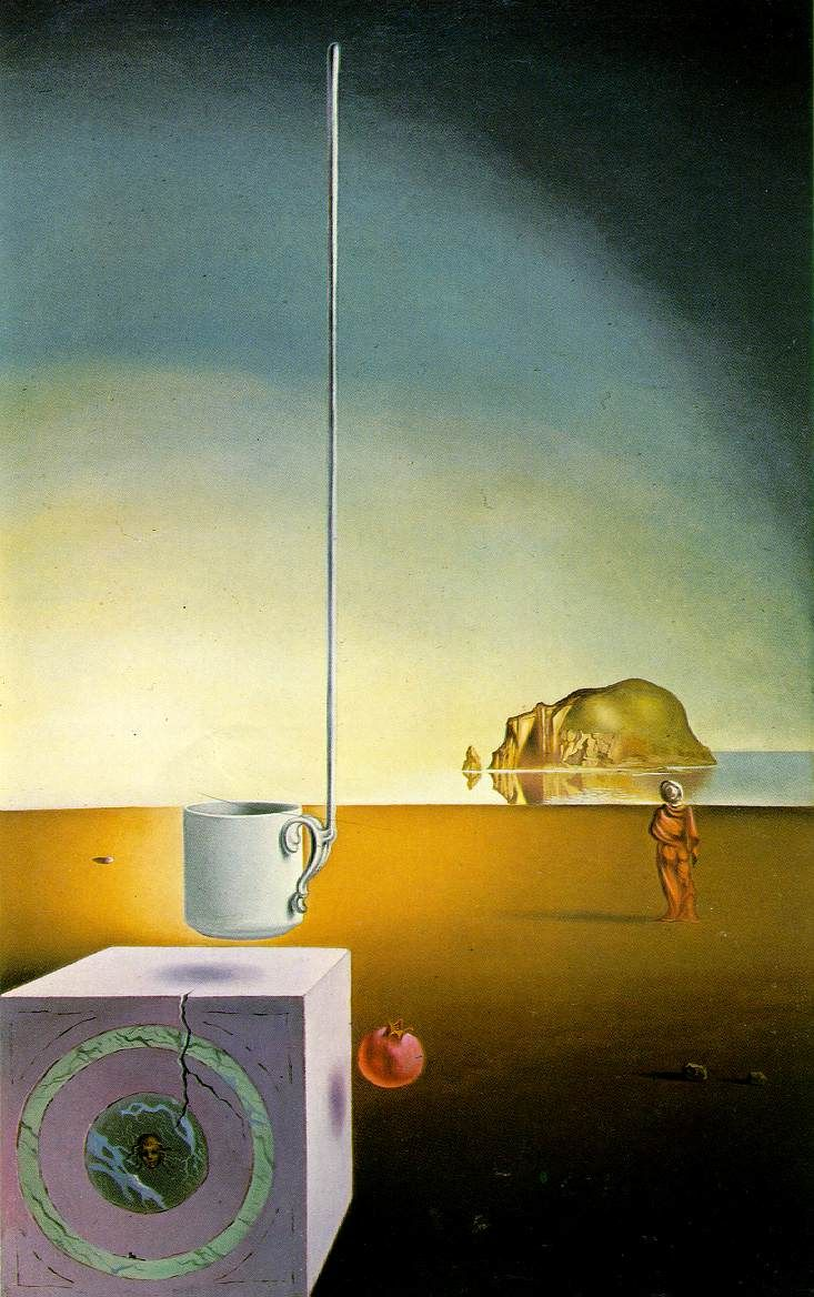 Salvador Dalí // Half a giant cup suspended with an inexplicable appendage five meters long
