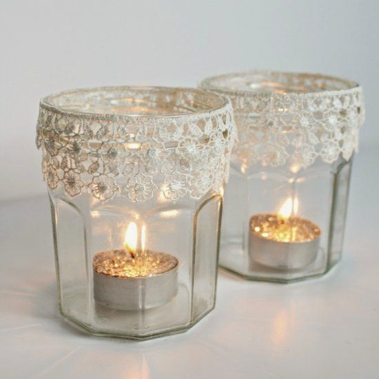 Make these pretty lace tealight holders for your Christmas mantel.