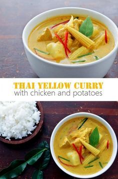 Thai Yellow Curry recipe featuring chicken and potatoes.  Simple and delicious.    rachelcooksthai.com