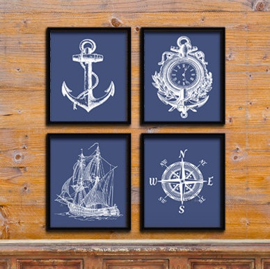Navy Blue Ship anchor art Nautical Art print Modern by EEartstudio, $9.99